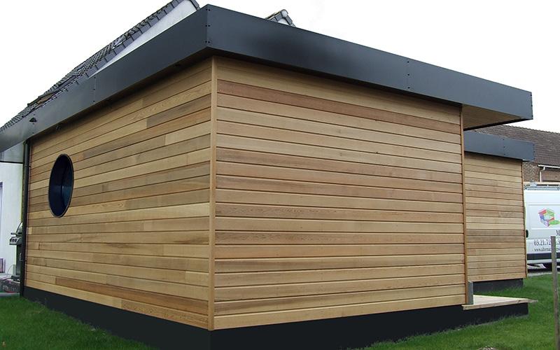 Maison ossature bois red cedar toiture plate drouvin for Maison en bois nord