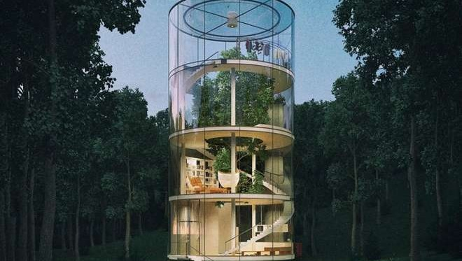 maison design transparente dans la nature